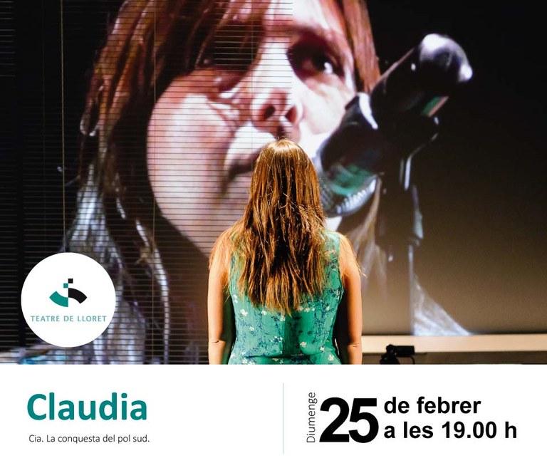 El Teatre de Lloret acull diumenge l'obra de teatre documental 'Claudia'