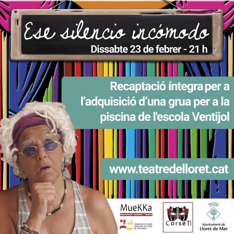 L'Associació cultural i teatral Muekka porta l'obra benèfica 'Ese silencio incómodo' al Teatre de Lloret