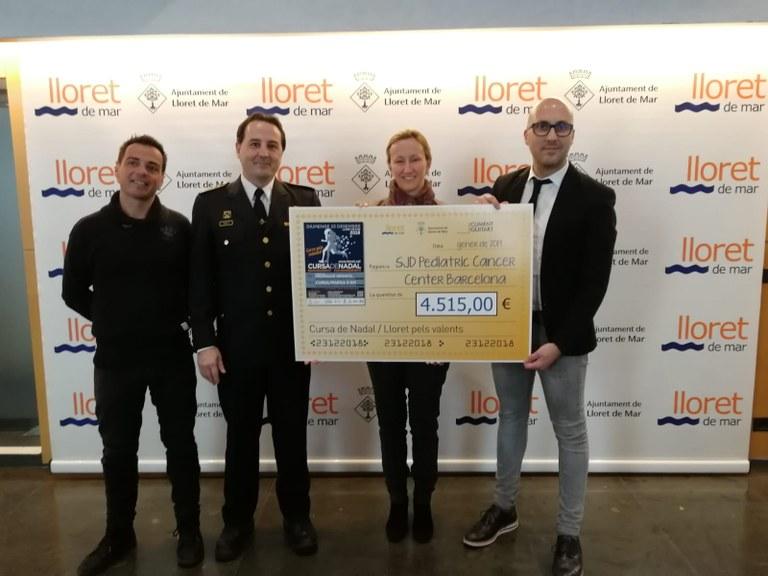 La Cursa de Nadal de Lloret, en benefici de la campanya contra el càncer infantil #pelsvalents, recapta 4.515€