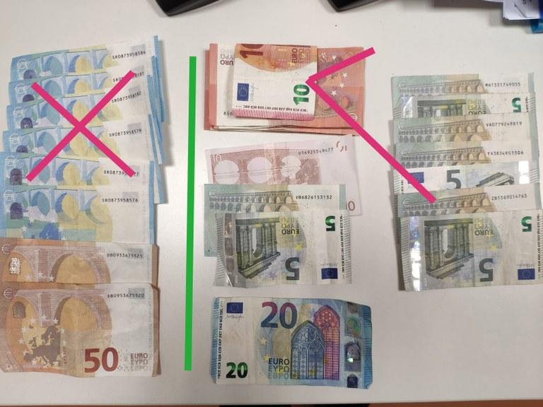 La Policia Local de Lloret deté tres persones per introduir bitllets falsos de 20 i 50 €