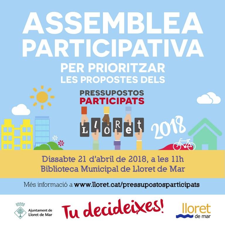 Lloret celebrarà una assemblea participativa per prioritzar les propostes vàlides dels Pressupostos Participats 2018 de Lloret de Mar