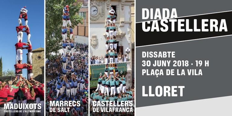 Lloret de Mar celebra aquest dissabte dia 30 de juny una Diada Castellera, amb la participació dels Castellers de Vilafranca, els Marrecs de Salt i els Castellers de l'Alt Maresme.