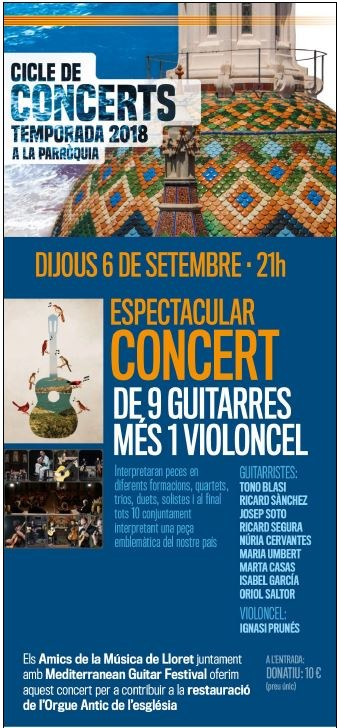Concert de Guitarra espanyola.  9 guitars i Cello