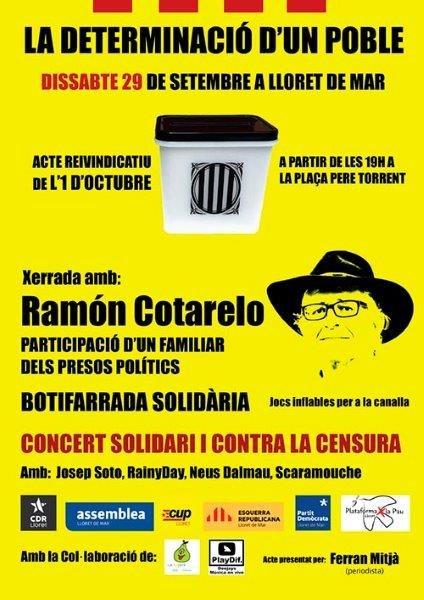 Acte commemoratiu i reivindicatiu del referèndum de l'1 d'octubre a Lloret